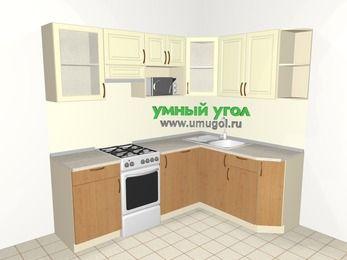 Угловая кухня из МДФ + ЛДСП 5,5 м², 2200 на 1600 мм, Ваниль / Ольха, верхние модули 720 мм, посудомоечная машина, модуль под свч, отдельно стоящая плита