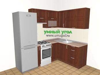 Угловая кухня МДФ матовый 5,5 м², 2200 на 1600 мм, Вишня темная: верхние модули 720 мм, холодильник, корзина-бутылочница, отдельно стоящая плита