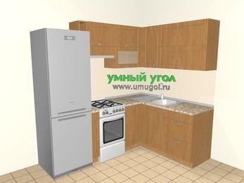 Угловая кухня МДФ матовый 5,5 м², 2200 на 1600 мм, Ольха: верхние модули 720 мм, холодильник, корзина-бутылочница, отдельно стоящая плита