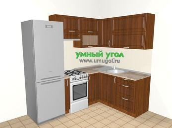 Угловая кухня из массива дерева 5,5 м², 2200 на 1600 мм, Темно-коричневые оттенки: верхние модули 720 мм, холодильник, корзина-бутылочница, отдельно стоящая плита