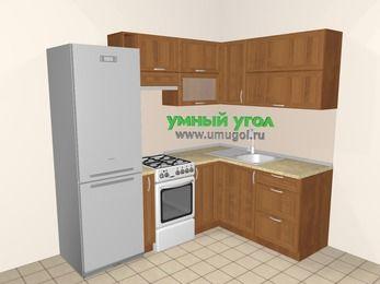 Угловая кухня из рамочного МДФ 5,5 м², 2200 на 1600 мм, Орех: верхние модули 720 мм, холодильник, корзина-бутылочница, отдельно стоящая плита