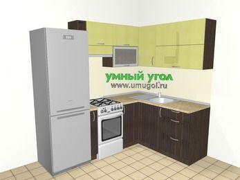 Кухни пластиковые угловые 5,5 м², 2200 на 1600 мм, Желтый Галлион глянец / Дерево Мокка: верхние модули 720 мм, холодильник, корзина-бутылочница, отдельно стоящая плита