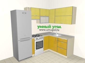 Кухни пластиковые угловые 5,5 м², 2200 на 1600 мм, Желтый Альтамир глянец / Желтый глянец: верхние модули 720 мм, холодильник, корзина-бутылочница, отдельно стоящая плита