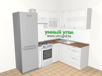 Угловая кухня из массива дерева 5,5 м², 2200 на 1600 мм, Белые оттенки: верхние модули 720 мм, холодильник, корзина-бутылочница, отдельно стоящая плита