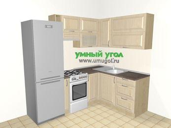 Угловая кухня из массива дерева 5,5 м², 2200 на 1600 мм, Светло-коричневые оттенки: верхние модули 720 мм, холодильник, корзина-бутылочница, отдельно стоящая плита