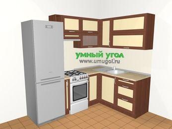 Угловая кухня из рамочного МДФ 5,5 м², 2200 на 1600 мм, Вишня темная / Крем: верхние модули 720 мм, холодильник, корзина-бутылочница, отдельно стоящая плита