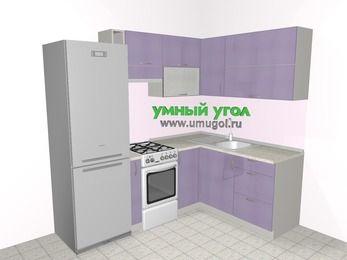 Кухни пластиковые угловые 5,5 м², 2200 на 1600 мм, Сиреневый глянец: верхние модули 720 мм, холодильник, корзина-бутылочница, отдельно стоящая плита