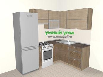 Кухни пластиковые угловые 5,5 м², 2200 на 1600 мм, Чибли бежевый / Мокрый зебрано: верхние модули 720 мм, холодильник, корзина-бутылочница, отдельно стоящая плита