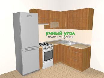 Угловая кухня МДФ матовый 5,5 м², 2200 на 1600 мм, Вишня: верхние модули 720 мм, холодильник, корзина-бутылочница, отдельно стоящая плита