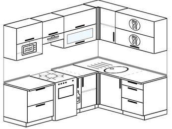 Планировка угловой кухни 5,5 м², 2200 на 1600 мм: верхние модули 720 мм, отдельно стоящая плита, корзина-бутылочница, верхний витринный модуль под свч