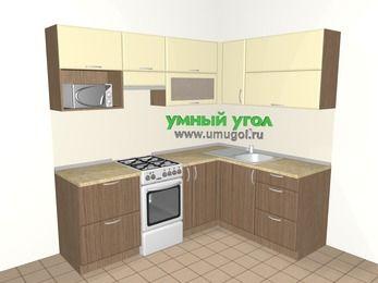 Угловая кухня МДФ матовый 5,5 м², 2200 на 1600 мм, Ваниль / Лиственница бронзовая, верхние модули 720 мм, верхний модуль под свч, отдельно стоящая плита