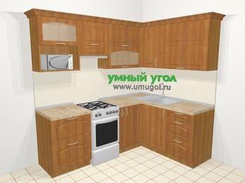 Угловая кухня МДФ матовый в классическом стиле 5,5 м², 220 на 160 см, Вишня, верхние модули 72 см, верхний модуль под свч, отдельно стоящая плита