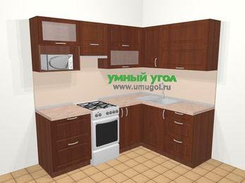 Угловая кухня МДФ матовый в классическом стиле 5,5 м², 220 на 160 см, Вишня темная, верхние модули 72 см, верхний модуль под свч, отдельно стоящая плита