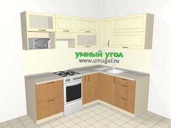 Угловая кухня из МДФ + ЛДСП 5,5 м², 2200 на 1600 мм, Ваниль / Ольха, верхние модули 720 мм, верхний витринный модуль под свч, отдельно стоящая плита