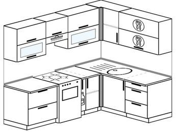 Угловая кухня 5,5 м² (2,2✕1,6 м), верхние модули 72 см, отдельно стоящая плита