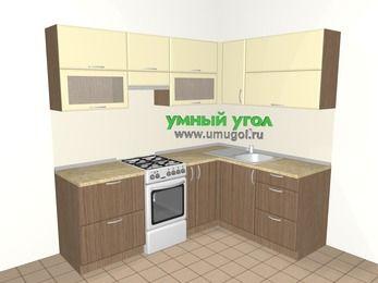 Угловая кухня МДФ матовый 5,5 м², 2200 на 1600 мм, Ваниль / Лиственница бронзовая, верхние модули 720 мм, отдельно стоящая плита