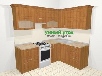 Угловая кухня МДФ матовый в классическом стиле 5,5 м², 220 на 160 см, Вишня, верхние модули 72 см, отдельно стоящая плита