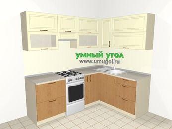 Угловая кухня из МДФ + ЛДСП 5,5 м², 2200 на 1600 мм, Ваниль / Ольха, верхние модули 720 мм, отдельно стоящая плита
