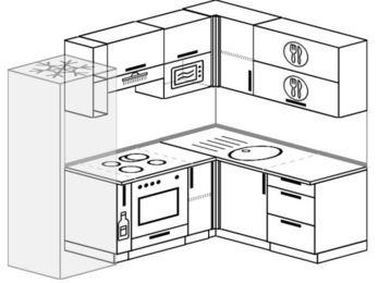 Угловая кухня 5,5 м² (2,2✕1,6 м), верхние модули 72 см, верхний модуль под свч, встроенный духовой шкаф, холодильник