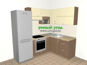 Угловая кухня МДФ матовый 5,5 м², 2200 на 1600 мм, Ваниль / Лиственница бронзовая, верхние модули 720 мм, верхний витринный модуль под свч, встроенный духовой шкаф, холодильник