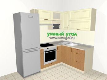 Угловая кухня из МДФ + ЛДСП 5,5 м², 2200 на 1600 мм, Ваниль / Ольха, верхние модули 720 мм, верхний модуль под свч, встроенный духовой шкаф, холодильник