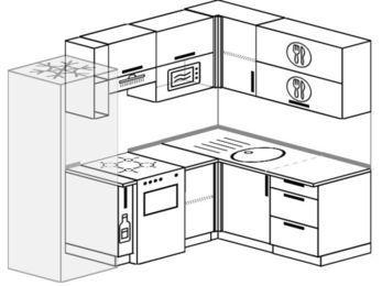 Угловая кухня 5,5 м² (2,2✕1,6 м), верхние модули 72 см, верхний модуль под свч, холодильник, отдельно стоящая плита