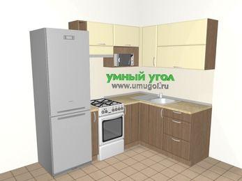 Угловая кухня МДФ матовый 5,5 м², 2200 на 1600 мм, Ваниль / Лиственница бронзовая, верхние модули 720 мм, верхний витринный модуль под свч, холодильник, отдельно стоящая плита
