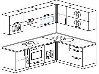 Угловая кухня 5,5 м² (2,2✕1,6 м), верхние модули 72 см, посудомоечная машина, верхний модуль под свч, встроенный духовой шкаф