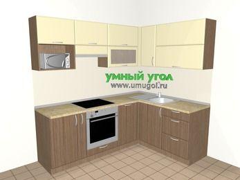 Угловая кухня МДФ матовый 5,5 м², 2200 на 1600 мм, Ваниль / Лиственница бронзовая, верхние модули 720 мм, посудомоечная машина, верхний модуль под свч, встроенный духовой шкаф