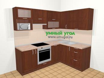 Угловая кухня МДФ матовый в классическом стиле 5,5 м², 220 на 160 см, Вишня темная, верхние модули 72 см, посудомоечная машина, верхний модуль под свч, встроенный духовой шкаф