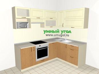 Угловая кухня из МДФ + ЛДСП 5,5 м², 2200 на 1600 мм, Ваниль / Ольха, верхние модули 720 мм, посудомоечная машина, верхний витринный модуль под свч, встроенный духовой шкаф