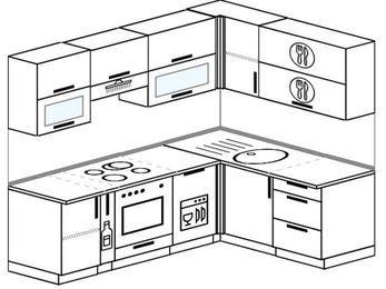 Планировка угловой кухни 5,5 м², 2200 на 1600 мм: верхние модули 720 мм, корзина-бутылочница, встроенный духовой шкаф, посудомоечная машина