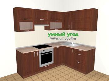 Угловая кухня МДФ матовый 5,5 м², 2200 на 1600 мм, Вишня темная: верхние модули 720 мм, корзина-бутылочница, встроенный духовой шкаф, посудомоечная машина