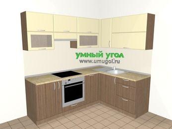 Угловая кухня МДФ матовый 5,5 м², 2200 на 1600 мм, Ваниль / Лиственница бронзовая, верхние модули 720 мм, посудомоечная машина, встроенный духовой шкаф