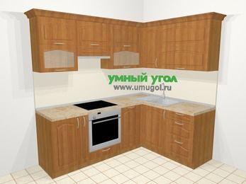 Угловая кухня МДФ матовый в классическом стиле 5,5 м², 220 на 160 см, Вишня, верхние модули 72 см, посудомоечная машина, встроенный духовой шкаф