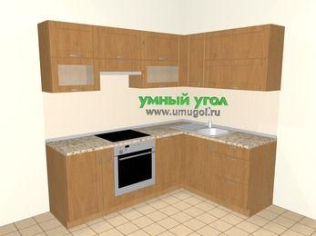 Угловая кухня МДФ матовый 5,5 м², 2200 на 1600 мм, Ольха: верхние модули 720 мм, корзина-бутылочница, встроенный духовой шкаф, посудомоечная машина