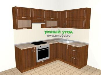 Угловая кухня из массива дерева 5,5 м², 2200 на 1600 мм, Темно-коричневые оттенки: верхние модули 720 мм, корзина-бутылочница, встроенный духовой шкаф, посудомоечная машина