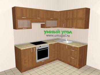 Угловая кухня из рамочного МДФ 5,5 м², 2200 на 1600 мм, Орех: верхние модули 720 мм, корзина-бутылочница, встроенный духовой шкаф, посудомоечная машина