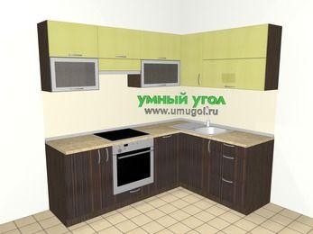 Кухни пластиковые угловые 5,5 м², 2200 на 1600 мм, Желтый Галлион глянец / Дерево Мокка: верхние модули 720 мм, корзина-бутылочница, встроенный духовой шкаф, посудомоечная машина