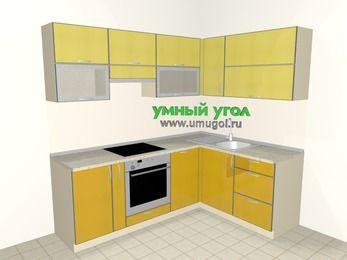 Кухни пластиковые угловые 5,5 м², 2200 на 1600 мм, Желтый Альтамир глянец / Желтый глянец: верхние модули 720 мм, корзина-бутылочница, встроенный духовой шкаф, посудомоечная машина