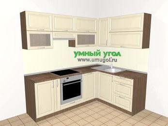 Угловая кухня из массива дерева 5,5 м², 2200 на 1600 мм, Бежевые оттенки: верхние модули 720 мм, корзина-бутылочница, встроенный духовой шкаф, посудомоечная машина