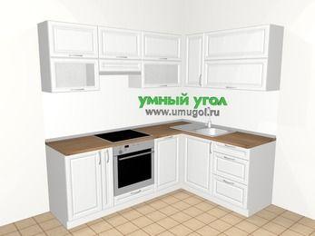 Угловая кухня из массива дерева 5,5 м², 2200 на 1600 мм, Белые оттенки: верхние модули 720 мм, корзина-бутылочница, встроенный духовой шкаф, посудомоечная машина