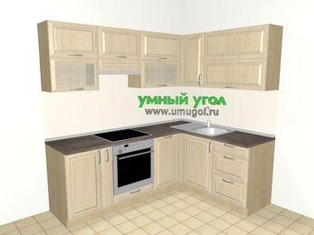 Угловая кухня из массива дерева 5,5 м², 2200 на 1600 мм, Светло-коричневые оттенки: верхние модули 720 мм, корзина-бутылочница, встроенный духовой шкаф, посудомоечная машина