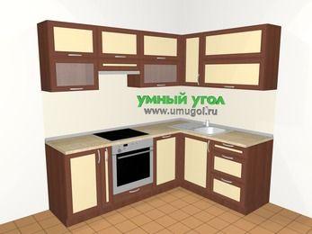 Угловая кухня из рамочного МДФ 5,5 м², 2200 на 1600 мм, Вишня темная / Крем: верхние модули 720 мм, корзина-бутылочница, встроенный духовой шкаф, посудомоечная машина