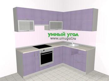 Кухни пластиковые угловые 5,5 м², 2200 на 1600 мм, Сиреневый глянец: верхние модули 720 мм, корзина-бутылочница, встроенный духовой шкаф, посудомоечная машина