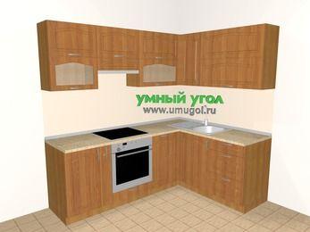 Угловая кухня МДФ матовый 5,5 м², 2200 на 1600 мм, Вишня: верхние модули 720 мм, корзина-бутылочница, встроенный духовой шкаф, посудомоечная машина