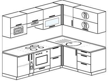 Планировка угловой кухни 5,5 м², 2200 на 1600 мм: верхние модули 720 мм, корзина-бутылочница, встроенный духовой шкаф, верхний витринный модуль под свч