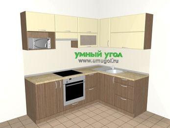Угловая кухня МДФ матовый 5,5 м², 2200 на 1600 мм, Ваниль / Лиственница бронзовая, верхние модули 720 мм, верхний модуль под свч, встроенный духовой шкаф
