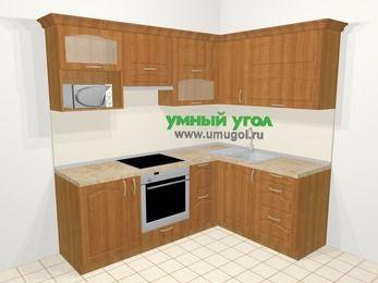 Угловая кухня МДФ матовый в классическом стиле 5,5 м², 220 на 160 см, Вишня, верхние модули 72 см, верхний модуль под свч, встроенный духовой шкаф
