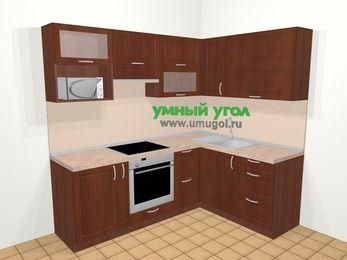 Угловая кухня МДФ матовый в классическом стиле 5,5 м², 220 на 160 см, Вишня темная, верхние модули 72 см, верхний модуль под свч, встроенный духовой шкаф